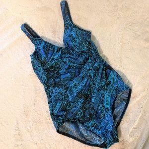 Miraclesuit One Piece Paisley Print Bathing Suit
